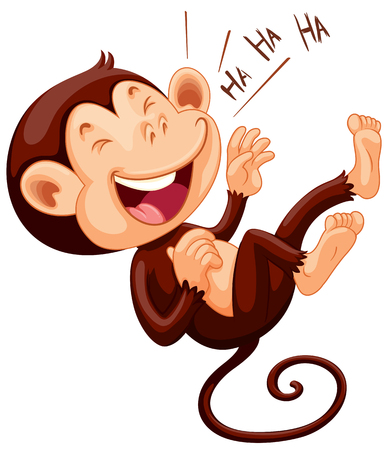 Petit singe rire illustration seul