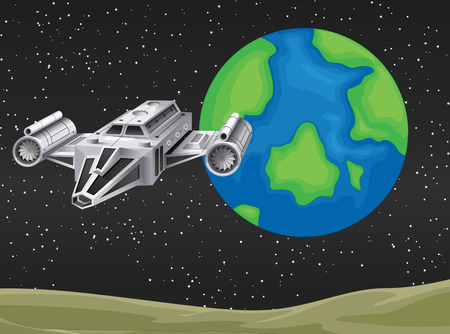 unidentified: Spaceship flying in the space illustration