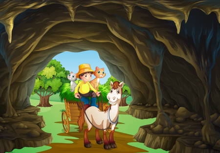 a cave: Man riding wagon through the cave illustration
