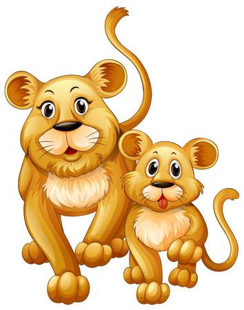 Mère lion et petit ours illustration
