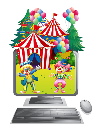 amusement park rides: Computer screen with clowns at the circus illustration Illustration