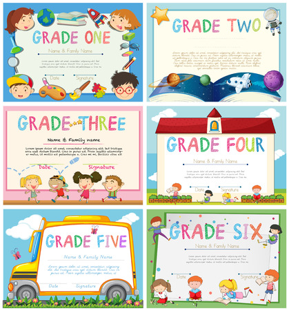 children school clip art: Certificates with education theme background illustration