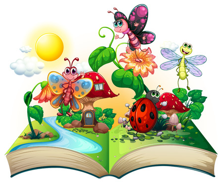 Butterflies and other insects in the book illustration Stock Illustratie