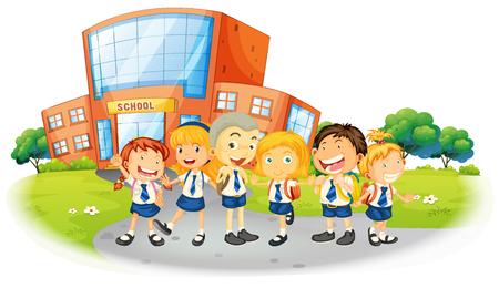 学校イラストでの制服の子供たち