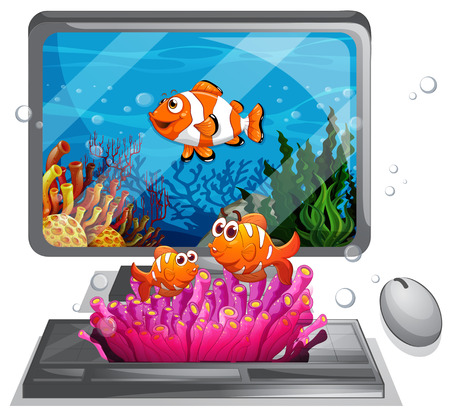 marine scene: Computer screen with clownfish swimming illustration