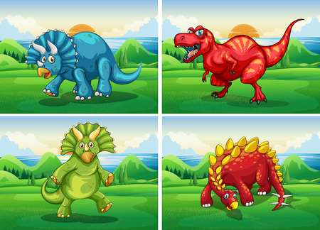 sauropod: Four dinosaurs standing in the field illustration