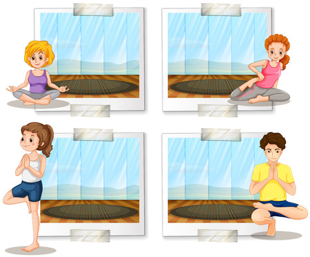 meditation room: People doing yoga in the room illustration Illustration