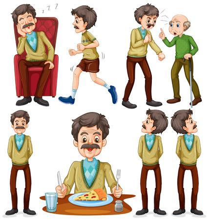 personas enojadas: anciano haciendo diferentes actividades de ilustración