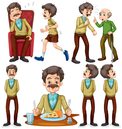 eating right: Old man doing different activities illustration