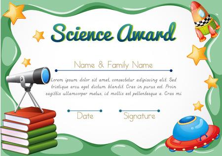 Certificado con objetos de la ciencia en la ilustración de fondo