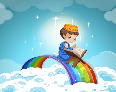 children background: Muslim boy praying over the rainbow illustration