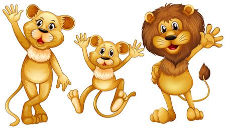 cub: Lion family with one little cub illustration