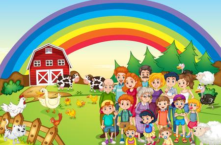 family members: Family members living on the farm illustration