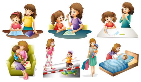 mamma figlio: Madre e bambino in diversi illustrazione azioni Vettoriali