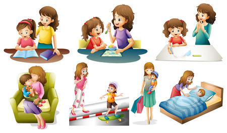family eating: Mother and child in different actions illustration Illustration