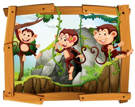 Los monos y la cueva en la ilustración de marco de madera Foto de archivo - 51404154