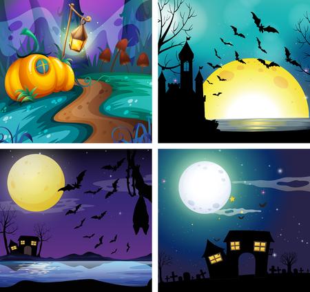 Vier nachtscènes met volle maan illustratie