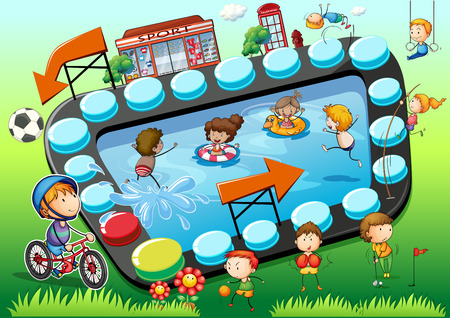 art activity: Game template with children and sports background illustration