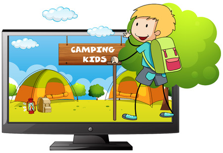 camping site: Boy going camping in the field illustration