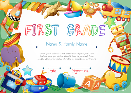 Certificate with toys in background illustration Vectores