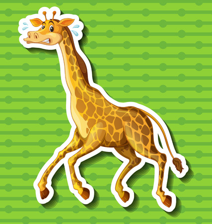 Giraffe running away on green background illustration