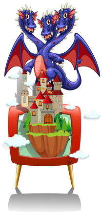 fantacy: Dragon and castle on TV screen illustration