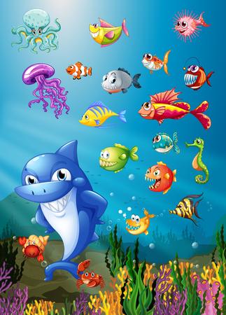 Shark and fish swimming under the sea illustration