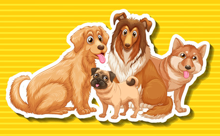 golden retriever puppy: Four different type of dogs illustration