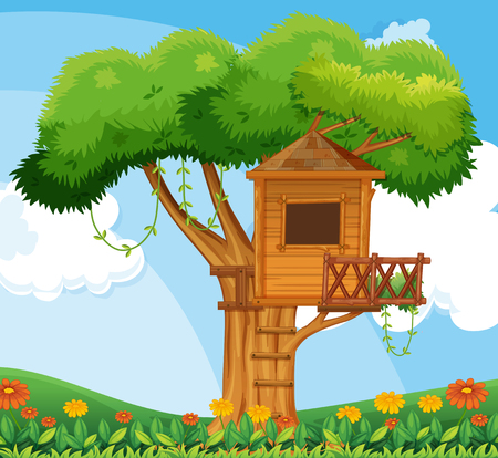 Nature scene with treehouse in the garden illustration Illustration