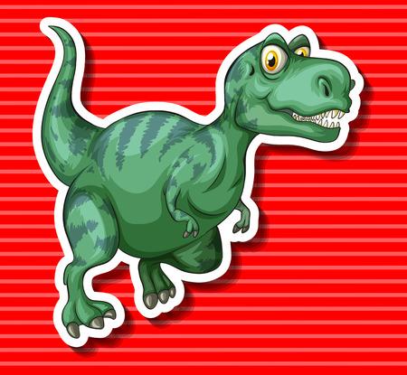 trex: Green T-Rex running alone illustration