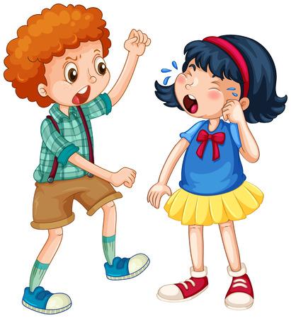 teasing: Boy teasing little girl illustration