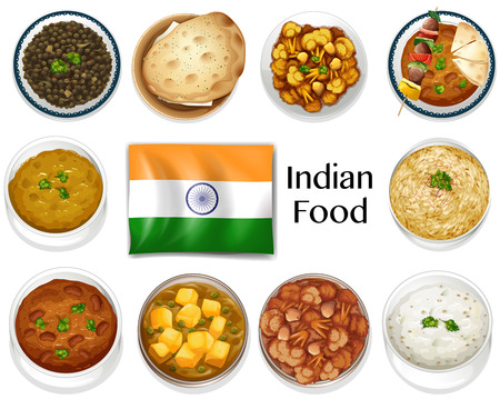 Different dish of Indian food illustration