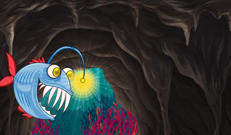 sea monster: Sea monster swimming under the sea illustration
