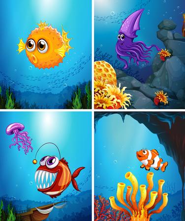 carnivorous fish: Sea animals swimming in the ocean illustration Illustration