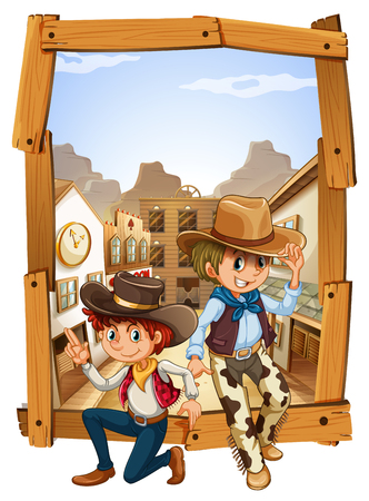 western town: Two cowboys in the countryside illustration Illustration