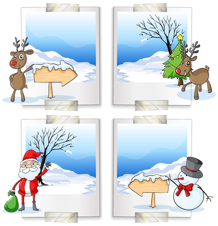 north pole sign: Four picture frames with christmas theme illustration Illustration