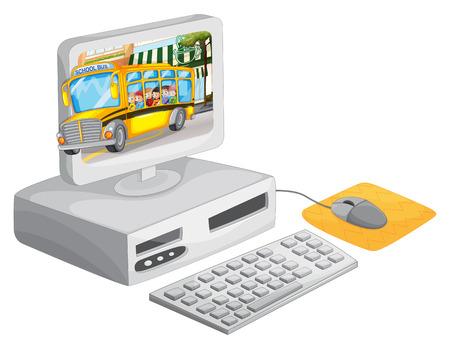 monitor de computadora: La pantalla del ordenador con los niños en la ilustración autobús escolar