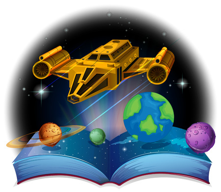 arts system: Sciene book with spaceship and solar system illustration