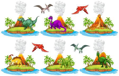 Dinosaurussen leven op het eiland illustratie Vector Illustratie