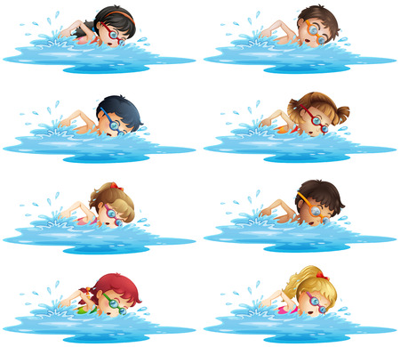 young boy in pool: Many children swimming in the pool illustration