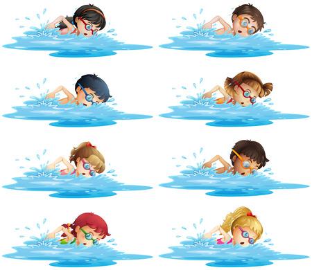 niños nadando: Muchos niños que nadan en la ilustración de la piscina
