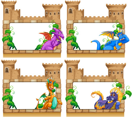 castle cartoon: Frame design with dragon and castle illustration