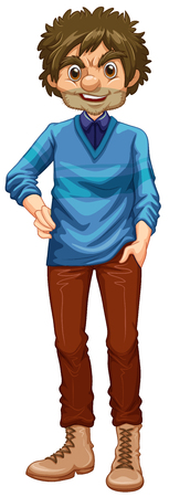 smile close up: Hipster man wearing sweater and boots illustration
