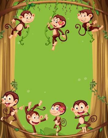 animal border: Border design with monkeys on the tree illustration