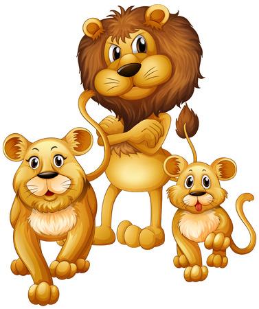 famille Lion avec un ourson illustration Vecteurs