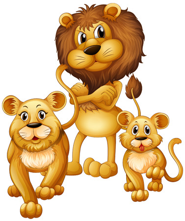Lion family with one cub illustration