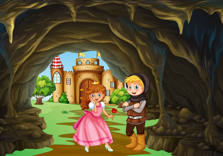 Hunter and princess in the cave illustration