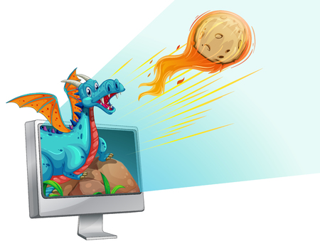 comet: Computer screen with dragon and comet illustration