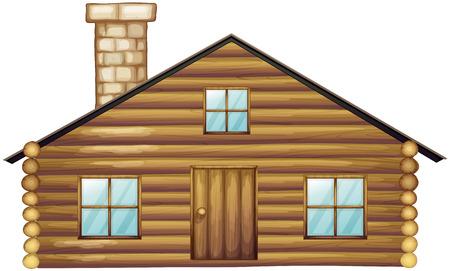 Houten huis met schoorsteen illustratie