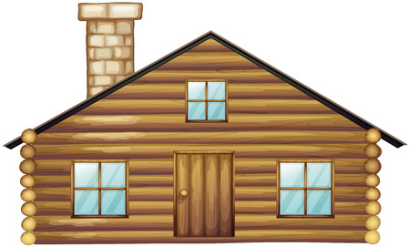 hut: Wooden house with chimney illustration
